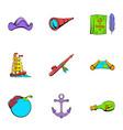 sea travel icons set cartoon style vector image