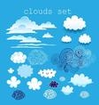 set of different clouds in the sky on a blue sky vector image