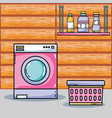 laundry equipment to clean the domestic clothes vector image