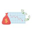 bankruptcy down diagram report money bag banknotes vector image