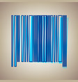 bar code sign sky blue icon with defected vector image vector image