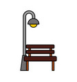 bench and stree lamp post light bulb decoration vector image