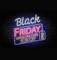 black friday sale neon signboard vector image vector image