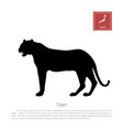 black silhouette of a japanese tiger vector image vector image