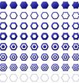 Blue hexagon icon template set vector image vector image