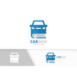 car and book logo combination vehicle and vector image vector image