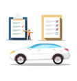 car symbol with checklist icons buying cars vector image vector image