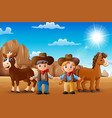 cartoon cowboy and cowgirl with animals in the des vector image