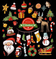 christmas holiday pattern with santa bells vector image