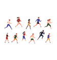 collection running people isolated on white vector image