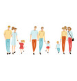 colorful set with young families vector image vector image