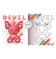 cute devil - coloring book for kid and children vector image