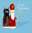 cute saint nicholas with devil and falling snow vector image