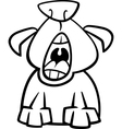 dog yawn cartoon coloring page vector image vector image