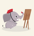 elephant artist draws with paints vector image