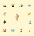 flat icons shell sorbet conch and other vector image vector image