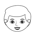 front face man smiling silhouette vector image