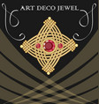 golden art deco brooch with three red ruby gems vector image vector image