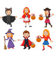 group cartoon kids wearing different costumes vector image vector image