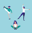 group people practicing stretching avatar vector image