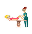 Hair removal in cosmetological salon - young woman