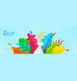 happy easter horizontal banner vector image