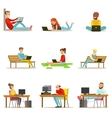 Happy People Spending Their Time Using Computer vector image vector image