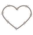 Heart shape of barbed wire vector image vector image