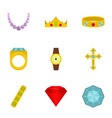jewelry collection icon set flat style vector image vector image