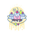 kawaii smiled ice cream banana split vector image vector image