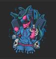 man spray monster kraken attack vector image vector image
