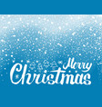 merry christmas lettering spruce trees snowflakes vector image