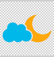 moon and stars with clouds icon in flat style vector image