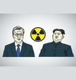 Moon jae in vs kim jong un caricature portrait vector image