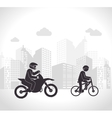 motorcyclis and cyclist urban background vector image vector image