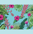 natural flowers with tropical leaves background vector image vector image
