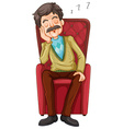 Old man taking a nap on the chair vector image vector image