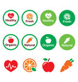 organic-natural-healhy-icons-set-color vector image