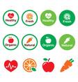 organic-natural-healthy-icons-set-color vector image