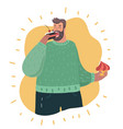 plus size guy holding in hands cakes and eating vector image vector image