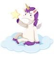 purple unicorn holding star vector image