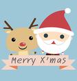 Santa and Reindeer Christmas vector image