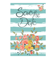 save the date with flowers and stripes vector image vector image