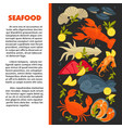 seafood fish and lobster crab and prawn squid and vector image vector image