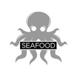 seafood restaurant monochrome emblem with grey vector image vector image