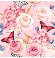 seamless rose and hydrangea vector image vector image