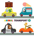 set of isolated transports with animals part 1 vector image vector image