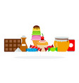 set sweet foods flat isolated vector image vector image