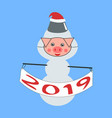 snowman piglet holding a banner in his hands vector image