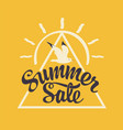 summer sale banner with seagull on yellow backdrop vector image vector image